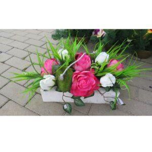 Stroik na grób w podłużnej doniczce 62 cm różowy