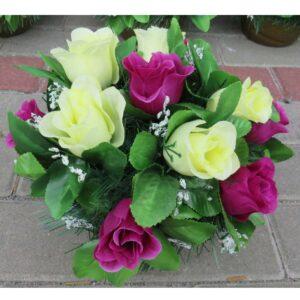 Stroik na grób róże kremowo - fioletowe